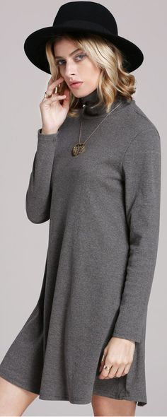 A very comfortable and  practical item for fall or winter .Grey Pullover Marl High Neck Jumpers Casual Dress .