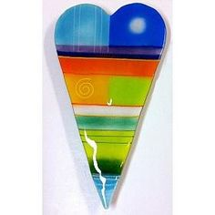 Large Fused Glass Heart by Anne Nye : Blue Pomegranate Gallery