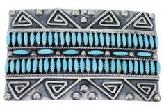Sterling Silver Water Wave Turquoise Needlepoint Belt Buckle EX48765