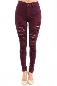 4af1e9c2bf9aa Hammer Skinny Jeans Burgundy High Waisted Destroyed Denim Pants Shredded  Holes Denim Pants Ankle Skinny Jeans