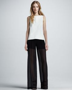 Leather Sheer-Back Top & Sheer Silk Trousers by Vince at Neiman Marcus.