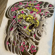 Japan Tattoo Design, Skull Tattoo Design, Skull Design, Tattoo Designs, Tattoo Caveira, Japanese Tattoo Women, Mythology Tattoos, Asian Tattoos, Oriental Tattoo