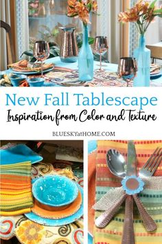 New Fall Tablescape Inspiration from Color and Texture. Tablescape tips for using metallic, color, and textures for an autumn tablescape.