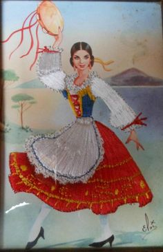 Traditional costume of Campania, Italy Vintage Cards, Vintage Postcards, Vintage Images, Ballet Costumes, Dance Costumes, Italian Outfits, Italian Clothing, European Clothing, Italian Women