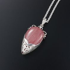 Pink stone pendant necklace with silver openwork by (C) Kaznesq