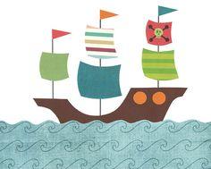 Pirate ship - Nursery, children's or bathroom artwork, boat, ship, pirate, ocean, nautical, blue, brown, green, orange, red on Etsy, $12.00