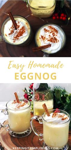 Homemade eggnog is so delicious and easy to make that once you make it at home, you will never buy store bought again! Christmas Food Gifts, Holiday Snacks, Holiday Drinks, Christmas Desserts, Holiday Recipes, Christmas Cocktails, Christmas Recipes, Thanksgiving Recipes, Sangria Recipes
