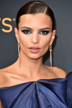 Holiday makeup ideas and the beauty products you need to get them this season: Emily Ratajkowski's blue eye shadow