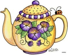 Yellow Tea pot with pansies and lady bugs Design Blog, Web Design, Tee Kunst, Quilting, Teapots And Cups, Teacups, Cuppa Tea, Mary Engelbreit, Arts And Crafts