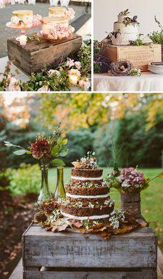 Cajas de madera en bodas: tartas y mesas de dulces