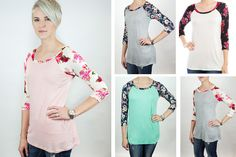 FLORAL SLEEVE BASEBALL TEE Add a little floral to your spring wardrobe! 40% OFF