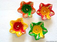 Terracotta Diya Candle Holder Assorted Home Decor Indian Handicraft Floral-Set of 4 #bestofEtsy #etsyretwt