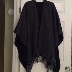 Herringbone / Chevron Italian Fringed Cape / Shrug Black & Grey.  Made in Italy.  Fringed.  Worn once or twice, in like new condition. Sweaters Shrugs & Ponchos