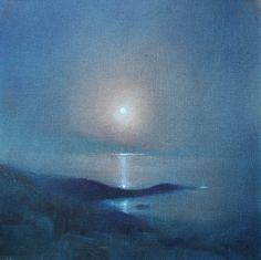 Willie Fulton (Scottish, b. 1945). Moon over Kyles Scalpay