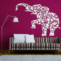 Wall Decal Elephant Vinyl Sticker Decals Lotus Indian Elephant Floral Patterns Mandala Tribal Buddha Ganesh Om Home Decor Bedroom Art Design Interior NS321