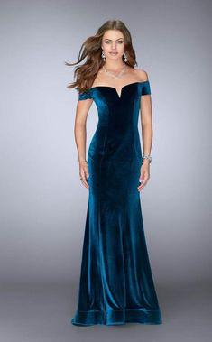 bec1fad6fda La Femme - 24626 Sleek Off-Shoulder Velvet Mermaid Long Evening Gown