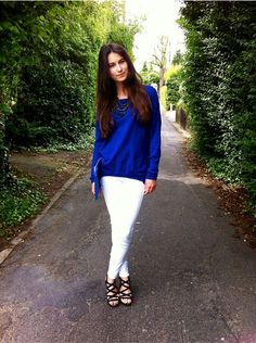 Blue Fashion white jeans blue sweater sandals summer 2014 Brussels #Faraloo