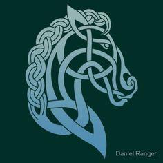 Celtic Horse_Teal & Aqua Blend T-Shirt by Daniel Ranger - Women Horse Tee Shirt - Fashionable Women Horse Tee Shirt - Celtic Quilt, Celtic Symbols, Celtic Art, Celtic Knots, Mayan Symbols, Celtic Dragon, Egyptian Symbols, Ancient Symbols, Vikings