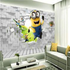 photo wallpaper 3D stereoscopic cartoon children's room painting little yellow man sprint large mural green wall paper mural