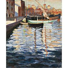 Sir Winston Churchill - Boats in Cannes Harbour,... just finished reading his essay Painting as a Pastime and sighed after looking at this.