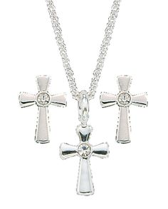 Silver Cross Necklace & Earring Set #Jewery #WomensAccessories #WomensFashion #WesternFashion #WesternStyle #CowgirlChic #WesternChic