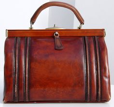 French Vintage Leather Bag Vintage Doctor's Style by taffetablue, €53.00