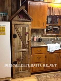 Pantry cabinet for the kitchen made with pallets 1