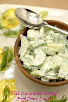 Best salad I've had in a long time! Sour Cream Dill Cucumber Salad Low Calorie Low Fat Healthy Side Dish