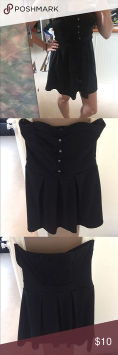 Forever 21 strapless black dress Black dress with buttons down the front from Forever 21. Size medium. Polyester, rayon and spandex. Forever 21 Dresses Strapless