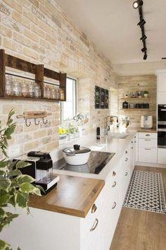 Farmhouse Kitchen 785455991247251217 - 19 Superior Farm Kitchen Design Ideas on a Low Allocation Source by Farm Kitchen Design, Kitchen Cabinet Design, Home Decor Kitchen, Interior Design Kitchen, New Kitchen, Awesome Kitchen, Kitchen Small, Kitchen Brick, Brick Interior