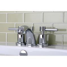 Kingston Brass Concord Double Handle Mini Widespread Bathroom Faucet with Brass Pop-Up Drain Finish: Polished Chrome Widespread Bathroom Faucet, Lavatory Faucet, Bathroom Sink Faucets, Contemporary Bathroom Sinks, Modern Faucets, Faucet Handles, Kingston Brass, Unique Home Decor, Polished Chrome
