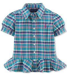 Ralph Lauren Polo Girls Plaid Peplum Shirt Top (6X) - Brought to you by Avarsha.com