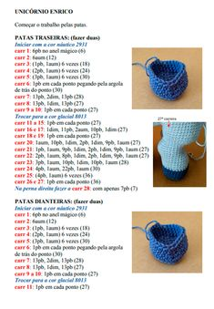 Receita Amigurumi Unicórnio Enrico - Blog do Bazar Horizonte Crochet Bird Patterns, Crochet Unicorn Pattern, Crochet Horse, Doily Patterns, Crochet Patterns Amigurumi, Crochet Dolls, Crochet Animals, Knitted Bunnies, Crochet Backpack