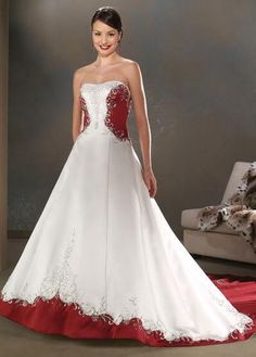 White Wedding Dress With Red Embroidery Empire Waist And