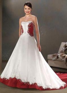 USD$213.71 - Empire Waist Embroidery Red And White Wedding Dress - www.weddingdressbraw.com