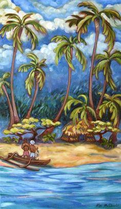 Kim Mcdonald Day's End Hawaii Painting, Nativity Painting, Tropical Art, Tropical Gardens, Polynesian Art, Surf, Caribbean Art, Hawaiian Art, Pictures To Paint