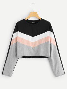 5abc5d6eb88a Cut and Sew Crop Sweatshirt -SheIn(Sheinside) Latest Tops Fashion, Cute  Jackets