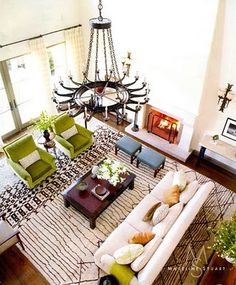 colorful living room with green and red accents and moroccan beni rug