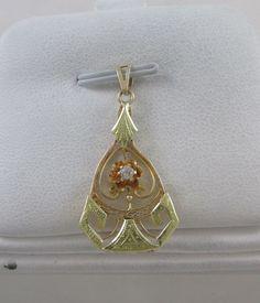 VICTORIAN 14KT TWO TONE YELLOW & GREEN GOLD DIAMOND LAVALIER PENDANT