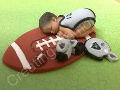 Baby Football Playeer/Edible CakeToppers, Cookies or Cake decorations made of Vanilla Fondant, BABY SHOWER Baby Cake Topper, Fondant Cake Toppers, Fondant Figures, Fondant Cakes, Cupcake Toppers, Football Blanket, Football Baby, Football Cakes, Satin Ice Fondant