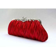 Burgundy Silk Ruched Soft Bridesmaid Prom Evening Bag Purse Clutch SKU-1110027