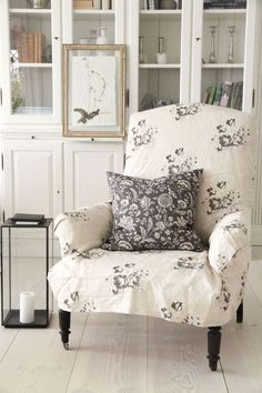 The Little Black and White Cottage on Bramble Bush Lane White Cottage, Cottage Style, Shabby Cottage, Sweet Home, Take A Seat, Soft Furnishings, Slipcovers, Armchair Slipcover, Farmhouse Decor