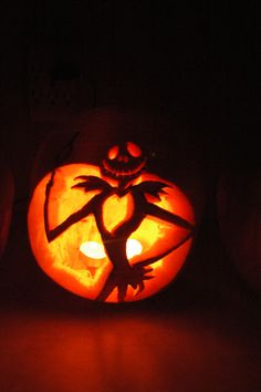 My 2011 Jack Skellington Pumpkin.  My brother drew him for me and I cut :)