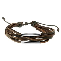 Mens Brown Leather & Steel Multi Strand Bracelet Wristband by WRCDesigns on…