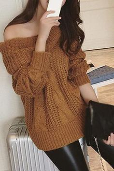 Casual Chic Grey Cable Knit Boat Neck Off Shoulder Sweater. Pull ...