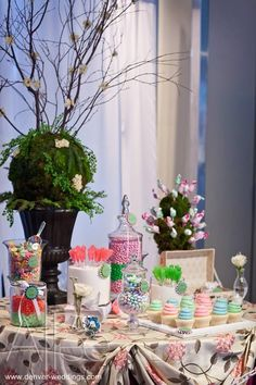 garden theme wedding - dessert station