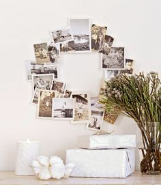 An idea from Victor Schrager for Country Living, creating family photo wreaths! You could just glue photos to a cardboard ring, or use poster putty to secure them for a less permanent solution.