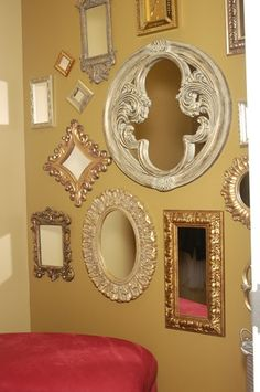 The changing room at Haute Heads Salon. Love all of the different mirrors. Great idea to add interest to a small space
