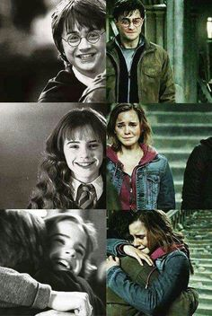 Hermione and Harry! Not that I don't like Ron but because Hermione and Harry are cuter together Harry Potter Trio, Images Harry Potter, Mundo Harry Potter, Harry Potter Jokes, Harry Potter World, Harry Potter Friends, Harry Potter Actors, Harry Potter Hogwarts, Hery Potter