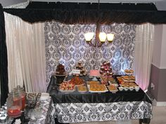 Parisian Themed Bridal Shower Home Decor Canopy Frame and Tables.